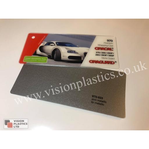 1520mm Wide Oracal 970 Rapid Air Premium Wrapping Cast Vinyl - Tin Metallic 933