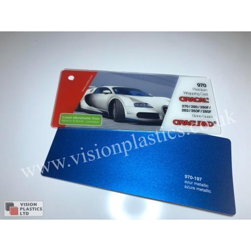 1520mm Wide Oracal 970 Rapid Air Premium Wrapping Cast Vinyl - Azure Metallic 197