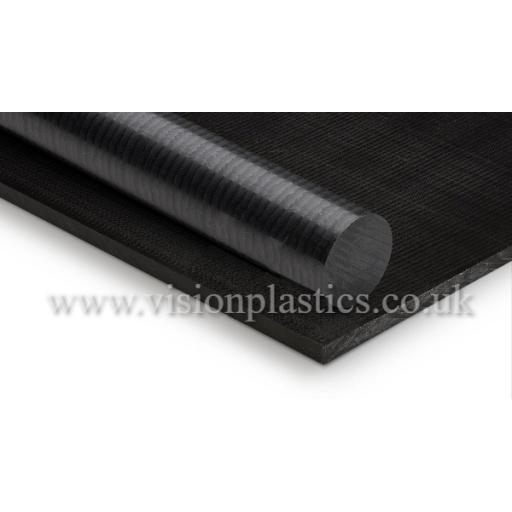 6mm Thick Black Acetal Sheet 500mm x 2000mm