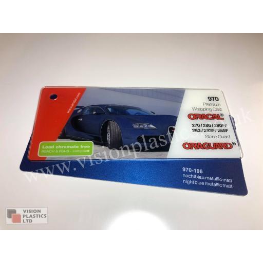 1520mm Wide Oracal 970 Rapid Air Premium Wrapping Cast Vinyl - Night Blue Metallic 196 Matt