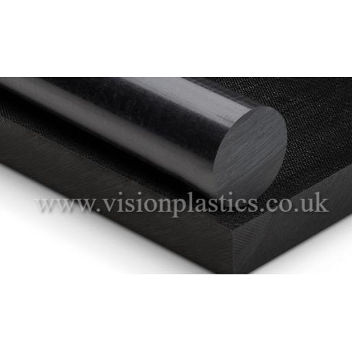 25mm Diameter Black Nylon 6 Extruded Rod x 1 Metre Long