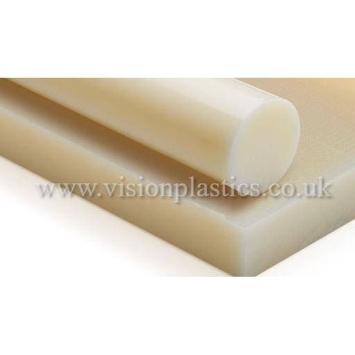 28mm Diameter Natural Nylon 66 Rod x 2 Metres Long