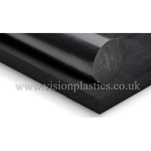 50mm Diameter Black Cast 6 Nylon Rod x 1 Metre Long