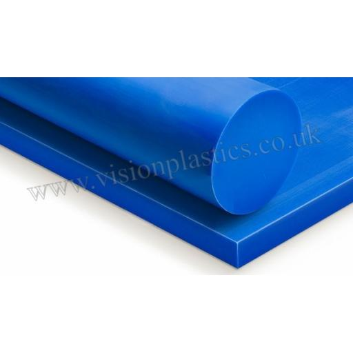 10mm Thick Blue Cast Nylon 6 Sheet 1000mm x 1000mm