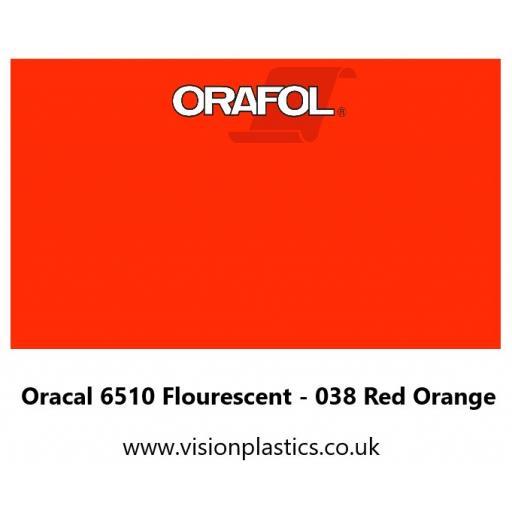 630mm Wide Oracal 6510 Fluorescent Cast 038 Red Orange Vinyl