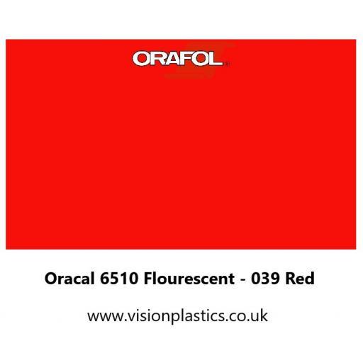 630mm Wide Oracal 6510 Fluorescent Cast 039 Red Vinyl