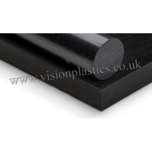 10mm Diameter Black Nylon 66 GF30 Rod x 3000mm Long